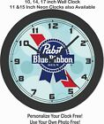PABST BLUE RIBBON BEER EMBLEM WALL CLOCK-FREE USA SHIP!