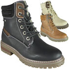 Womens Ankle Boots Ladies Lace Up Zip Warm Winter Mid Heel Comfy Grip Shoes Size