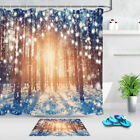 Winter Snow Covered Forest In The Sunshine String Lights Xmas Shower Curtain Mat