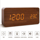 Modern Wood USB/AAA Digital LED Voice Control Alarm Clock Calendar Thermometer