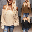 Women Off Shoulder Long Sleeve Tops Blouse Ladies Causal Plush Pullover Sweaters