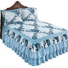 Navy Floral Medallion Tiered Ruffled Bedspread image