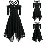 Gothic Women Dress Steampunk Lace Up Strap Corset Midi Retro Medieval Plus Size