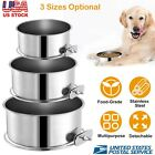 Stainless Steel Cage Coop Cup For Bird Cat Dog Crate Hanging Food Water Bowl