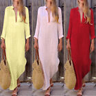 Womens Cotton Linen V-neck Stitching V-neck Long Sleeve Skirt Split Maxi Dress