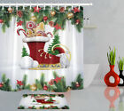 Christmas Baubles In Red Skates Shower Curtain Winter Festive Decor Bathroom Mat