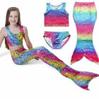 USA Girls Swimmable Mermaid Tail Sea maid Bikini Swimwear Swimming Costume Set