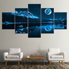 Blue Night Moon View 5 Panels Canvas Wall Art Abstract Home Decor Print Poster