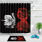 Red Rose White Swan In Water Reflection Fabric Shower Curtain Set Bathroom Decor
