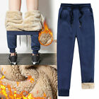 Warm Fleece Lined Mens Thick Trousers Sports Pants Winter Loose