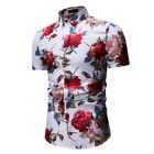 Mens Slim Fit Floral Printed Shits Button Down Hawaiian Party Casual T-Shirt Top