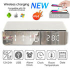 Digital LCD Display Alarm Clock  Wireless Charger Charging Pad Station Thermomet