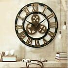 3D large classic vintage wooden wall clock retro gear hanging clock