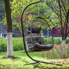 Outdoor Patio Wicker Hanging Egg Swing Chair With Stand Porch Chairs W/Cushions