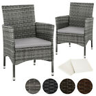 2 X Poly Rattan Garden Chairs Wicker Outdoor Armchair Set + Cushion Pads Terrace