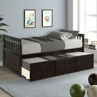 Wood Captain's Solid Bed Platform Twin Daybed w/Trundle &Storage Drawers