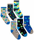 Boys Socks 3 Pairs Kids Ankle Socks Game Space 3 PACK UK Size 6-8.5 9-12 12-3.5