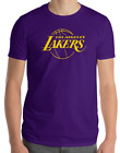 Los Angeles Lakers PURPLE t-shirt golden Yellow Logo Cotton Adult S-2XL on eBay