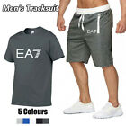 2PCS Men's T Shirts Shorts Set Bottoms Short Sleeve Casual Tracksuit Track Pants