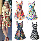 Women Summer Beach Chiffon OL Floral Pleated Tank Sundress Sleeveless Mini Dress