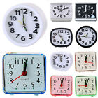 Small Operated Quartz Alarm Clock Silent Night Analogue Snooze Bed Battery Clock