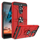 For LG K40/Xpression Plus 2/Solo LTE Phone Case Metal Ring Stand +Tempered Glass