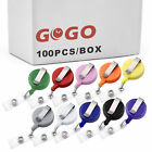 100x Lot GOGO Carabiner Badge Holder Retractable Reel Key Chain, Solid Color