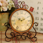 Vintage Retro Iron Table Clock Home Bedroom Living Room Office Decor Deluxe
