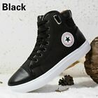 Winter Men's Fur-lined Ankle Boots Casual High Top Leather Shoes Canvas Sneakers
