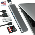 7in1 Dual USB C Hub USB 3.1 Adapter 4K HDMI Dock Card Reader For MacBook Pro/Air