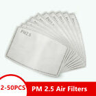 2-50 PCS Adult PM2.5 Activated Carbon 5 Layer Face Mask Replacement Filters US
