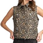 Easel Summer Clothing Cotton Leopard Animal Print Distressed Twill Cropped Vest