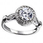 Platinum Plated Brass Vintage Style 1.3 Carat Round Cubic Zirconia Wedding Ring image