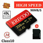KRECOO 64GB 128GB 256GB Micro Memory Card 98MB/S C10 Fast Flash TF Card Adapter