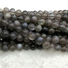 High Quality Natural Genuine Flash Light Gray Black Moonstone Round Stone Beads