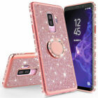 For Samsung Galaxy S20 S10 S9 Glitter Bling Diamond Ring Holder Stand Case Cover