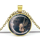 Vintage Bronze Wolf Totem Moon Angel Glass Pendant Necklace Women Lucky Jewelry