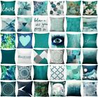 Kyпить Cushion COVER Teal Blue White Double Sided Decorative Throw Pillow Case 18x18