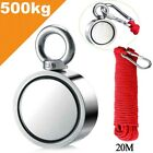500kg Double Sided Round Recovery Salvage Neodymium Fishing Magnet 20M Rope New
