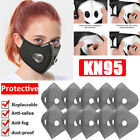 Reusable Mask Double Breathe Valves Activated Carbon Filters Washable Face Cover