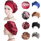 Women Silk Satin Night Sleep Cap Hair Bonnet Hat Head Cover Wide Band Elastic
