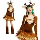 Reindeer Costume Womens Ladies Christmas Xmas Rudolph Fancy Dress Outfit