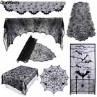 Black Spider Web Table Cloth Cobweb Runner Lace Fireplace Scarf Halloween Decor