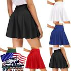 Women High Waist Pleated Casual Mini Skirt Plaid Tennis Style Skater Short Skirt
