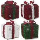 Decorative 3D Tinsel Christmas Present Boxes Santa Parcels Under The Tree Decor