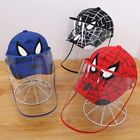 Spiderman Cartoon Detachable Baseball Cap Full Face Shield Hats for Kids