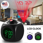 Digital Alarm Clock Voice Talking LCD LED Wall/Ceiling Projection Temperature US