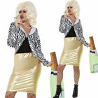 Lady Fabulous Costume Black & White Pasty Fancy Dress Outfit & Wig