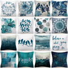 Cushion Cover Blue White Floral Flower Decorative Soft Throw Pillow Case 18x18""