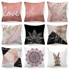 Pink Throw Pillow Cover Decorative White Double-sided Soft Cushion Case 18x18